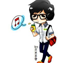 cartoon, running man, and jae suk image