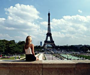 blue sky, eiffel, and fall in love image