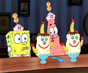spongebob, patrick, and ice cream image
