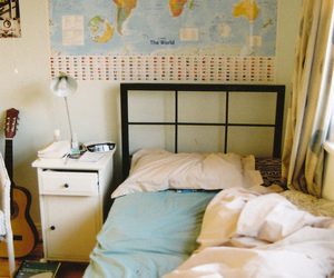 bed, map, and bedroom image