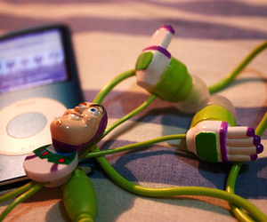 buzz lightyear, earphones, and toy story image