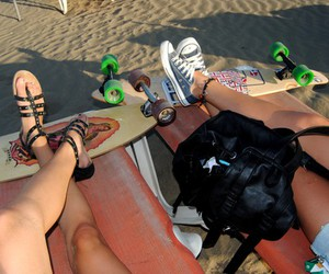 shoes, beach, and longboard image