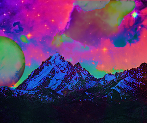 moon, mountains, and neon image