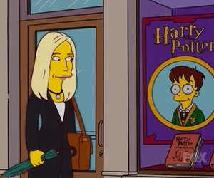 harry potter, the simpsons, and j.k. rowling image