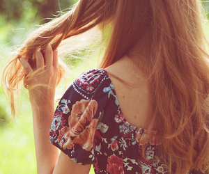 girl, hair, and floral image