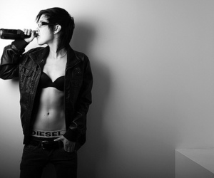 girl, androgynous, and black and white image