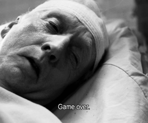 saw, game over, and black and white image