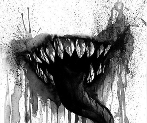 mouth, black and white, and creepy image