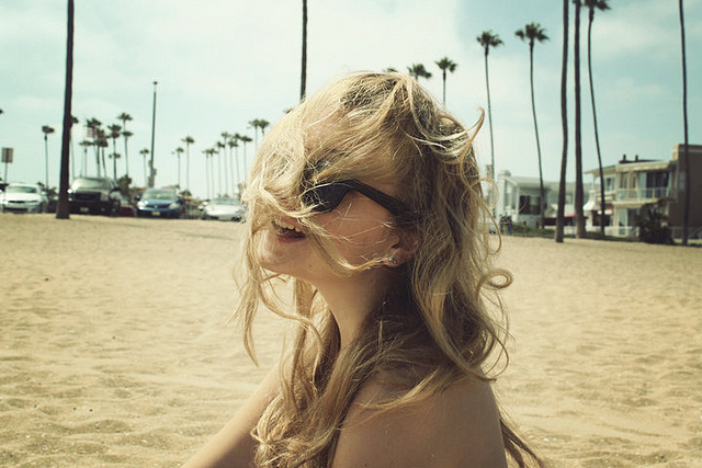 blonde, ocean, and sand image