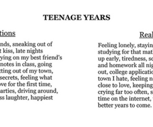 reality, teenager, and expectations image