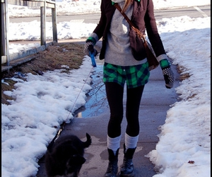 green, plaid, and winter image