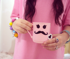 pink, cup, and hair image