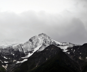 black and white, landscape, and mountains image