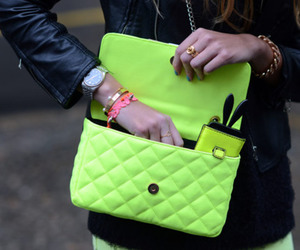 fashion, bag, and neon image