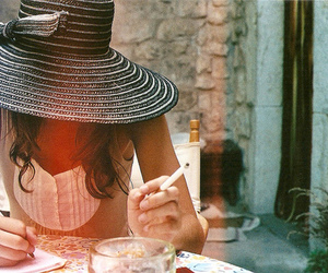 girl, hat, and cigarette image
