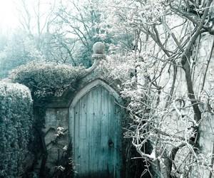 winter, door, and snow image