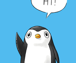 hi, penguin, and black and white image
