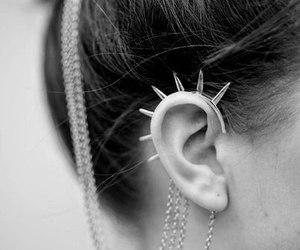 earrings, hair, and ear image