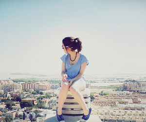 girl, city, and blue image