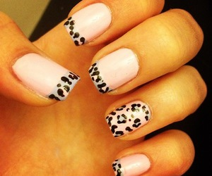 nails, pink, and animal print image