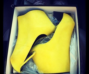 shoes, yellow, and wedges image