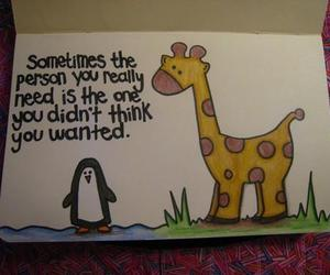 quote, giraffe, and penguin image