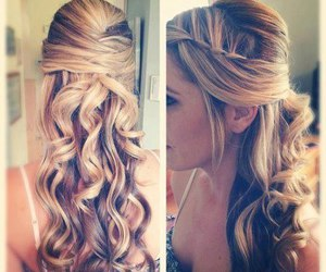 curly, dirty blonde, and updo image