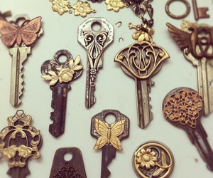 key, vintage, and butterfly image
