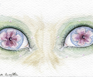 cherry blossoms, watercolour, and eyes image