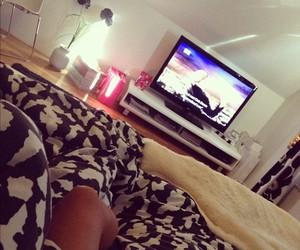 girl, tv, and bed image