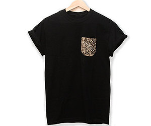 black, leopard, and t-shirt image