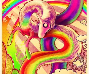 adventure time, unicorn, and rainbow image