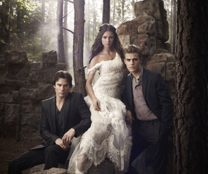damon, elena, and the vampire diaries image