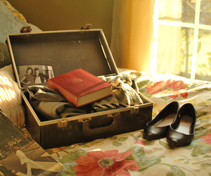 book, travel, and suitcase image