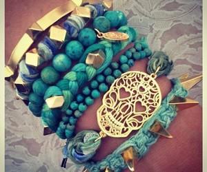 bracelet, blue, and gold image