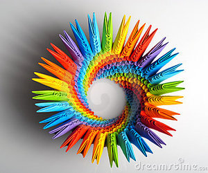 rainbow and origami image