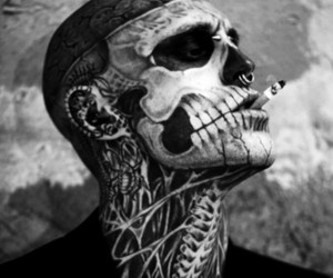 tattoo, zombie boy, and black and white image