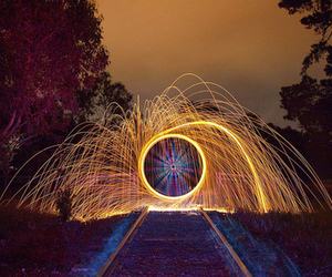 hoop, fire, and night image