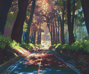 anime, art, and road image
