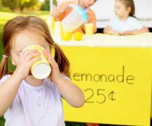 drinking, lemonade, and lemonade stand image