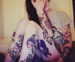 tattoo, girl, and alternative image