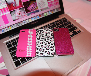 pink, iphone, and laptop image