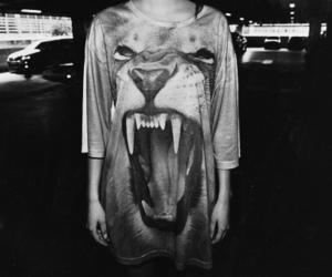 lion, black and white, and shirt image