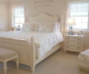 bedroom, white, and tenderness image