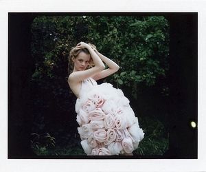 dress, girl, and roses image