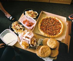 food, pizza, and hamburger image