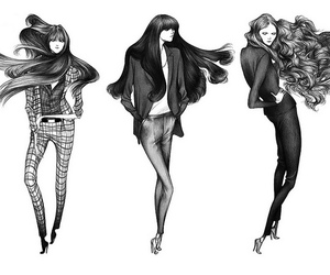 fashion, hair, and illustration image