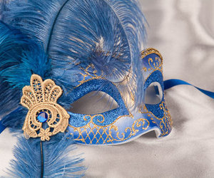 blue, gold, and masquerade mask image