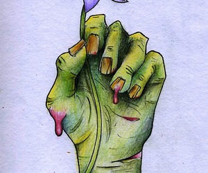drawing, zombie, and flower image