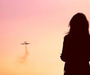 girl, sky, and airplane image